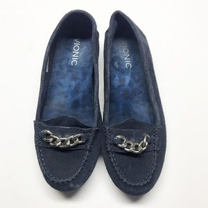 Vionic Mesa Navy Suede Chainlink Comfort Loafer